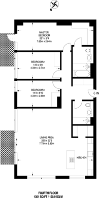 Large floorplan for Bolander Grove, Earls Court, SW6