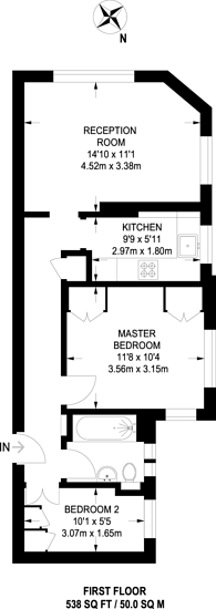 Large floorplan for Whiteheads Grove, Chelsea, SW3