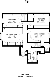 Large floorplan for Hornton Street, High Street Kensington, W8