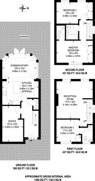 Large floorplan for Edensor Road, Chiswick, W4