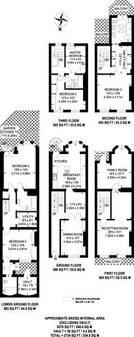 Large floorplan for Cadogan Place, Belgravia, SW1X