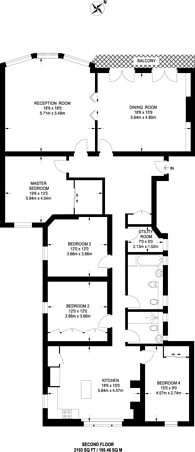 Large floorplan for Earls Court Square, Earls Court, SW5