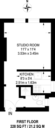 Large floorplan for Larkhall Rise, Clapham Old Town, SW4