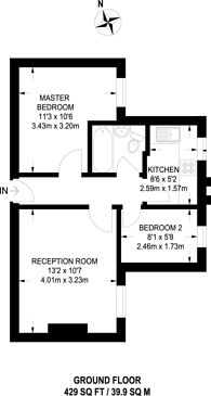 Large floorplan for Elder Gardens, West Norwood, SE27