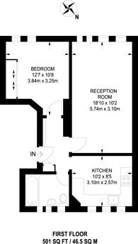 Large floorplan for Queens Drive, Finsbury Park, N4