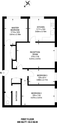 Large floorplan for Georges Road, Holloway, N7