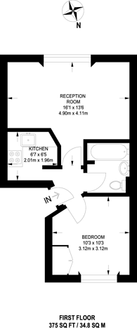Large floorplan for Richmond Avenue, Islington, N1