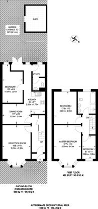 Large floorplan for Caithness Road, Mitcham, CR4