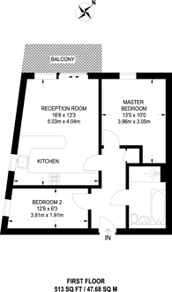 Large floorplan for Wandsworth Road, Clapham, SW8