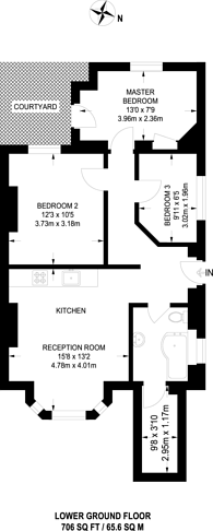 Large floorplan for Second Avenue, Hendon, NW4