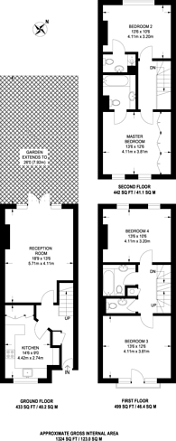 Large floorplan for Peterborough Road, Hurlingham, SW6