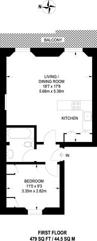 Large floorplan for Gloucester Terrace, Queensway, W2