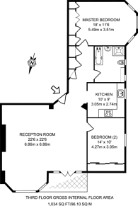 Large floorplan for Hillfield Court, Belsize Park, NW3