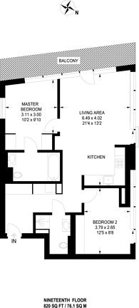 Large floorplan for London City Island, Tower Hamlets, E14