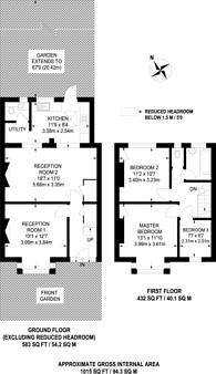 Large floorplan for Dudley Gardens, South Harrow, HA2