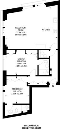 Large floorplan for Rogers street, Bloomsbury, WC1N