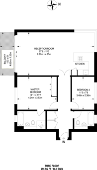 Large floorplan for Ocean Wharf, Canary Wharf, E14