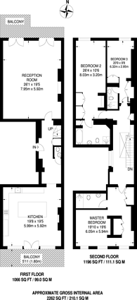 Large floorplan for Pont Street, Knightsbridge, SW1X