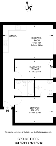 Large floorplan for Bramley Hill, South Croydon, CR2