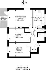Large floorplan for Pagoda Gardens, Blackheath, SE3