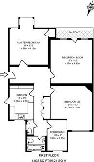 Large floorplan for Queens Drive, West Acton, W3