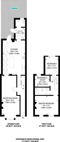 Large floorplan for North Grove, Tottenham, N15