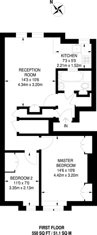 Large floorplan for Gledstanes Road, Barons Court, W14