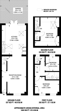 Large floorplan for First Avenue, Queen's Park, W10