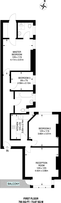 Large floorplan for Wolverton Mansions, Ealing Common, W5