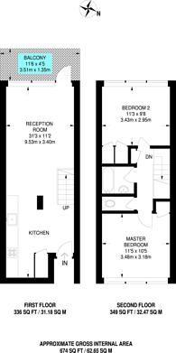 Large floorplan for Muriel Street, King's Cross, N1