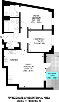 Large floorplan for Ikon, Purley Way, CR0