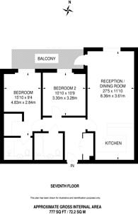 Large floorplan for Queenshurst Square, Kingston, KT2
