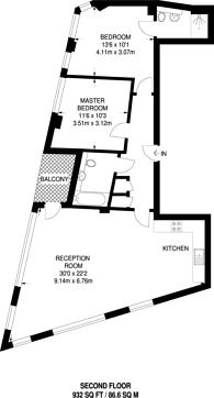 Large floorplan for Melior Street, London Bridge, SE1
