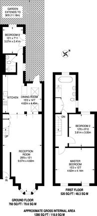 Large floorplan for Victoria Park Road, Victoria Park, E9