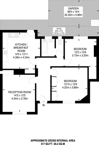Large floorplan for Springfield Avenue, Muswell Hill, N10