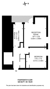 Large floorplan for Hide Tower, Pimlico, SW1P