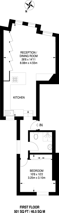 Large floorplan for Heyford Avenue, Vauxhall, SW8