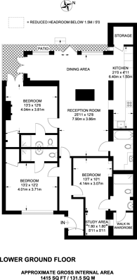 Large floorplan for Gloucester Avenue, Primrose Hill, NW1