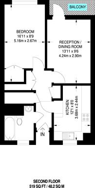 Large floorplan for Gibson Road, Kennington, SE11