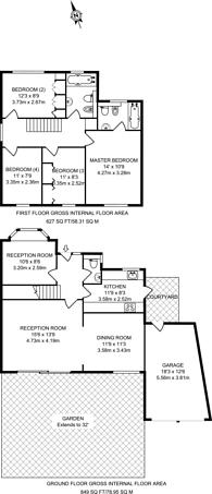 Large floorplan for Wakehams Hill, Pinner, HA5
