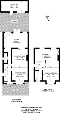 Large floorplan for Roxeth Grove, South Harrow, HA2