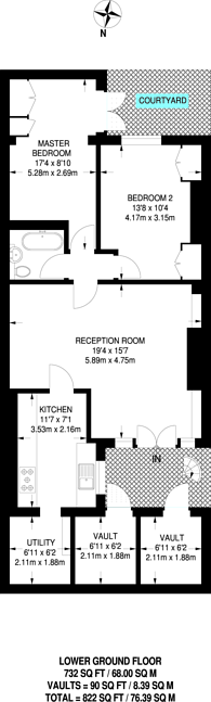 Large floorplan for Lonsdale Square, Islington, N1