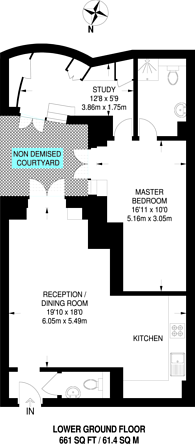 Large floorplan for Barkston Gardens, South Kensington, SW5
