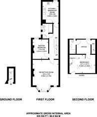 Large floorplan for Warwick Road, Hampton Wick, KT1