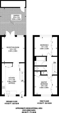 Large floorplan for Conistone Way, Holloway, N7