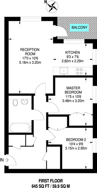Large floorplan for Passage Way, Camberwell, SE5