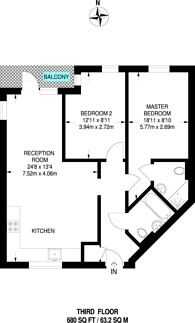 Large floorplan for Wick Tower, Woolwich, SE18