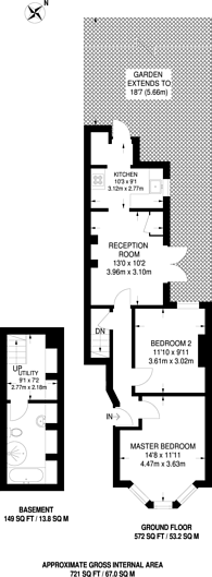Large floorplan for Kay Road, Brixton, SW9
