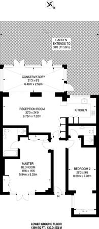 Large floorplan for Warwick Avenue, Little Venice, W9