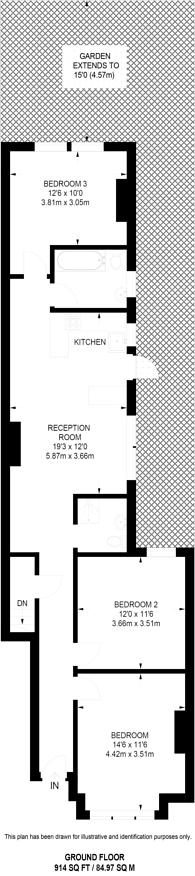 Large floorplan for Salford Road, Streatham Hill, SW2